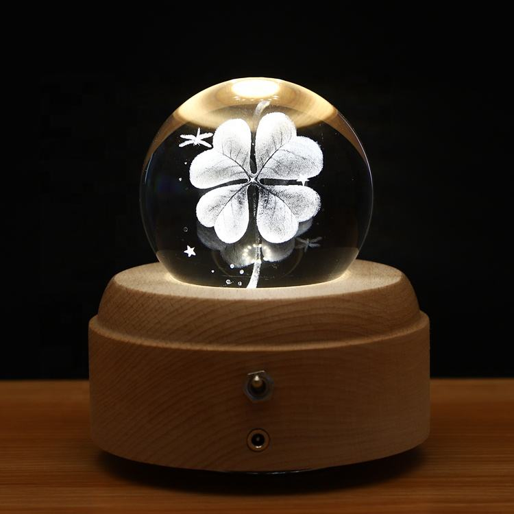 Hand Cranked Rotating 3D K9 Crystal Ball Music Box Custom Music Box For Birthday Souvenirs Gift