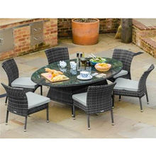 Patio 5 piece wicker bistro set with glass table hotel furniture set