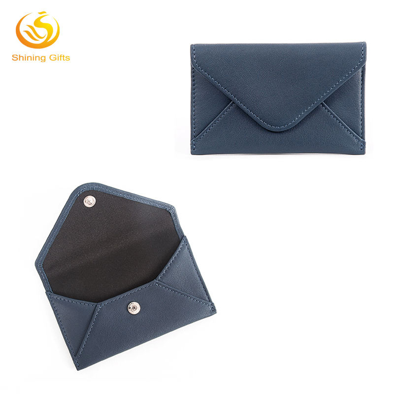 Envelop Shape Custom Design Made PU Card Holder With Press Button Closure Card Holder Wallet