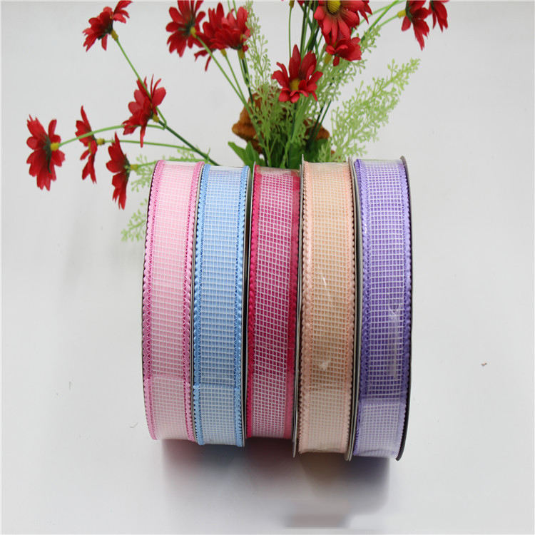 3cm Width Elastic Trim Velvet Wired Tartan Organza Ribbon for Hair Bow