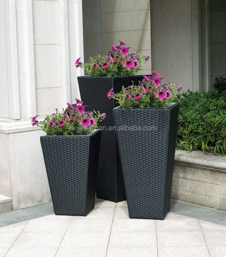 Garden Furniture Cheap Aluminum with Handmade Rattan Flower Vase Wicker Flower Pots