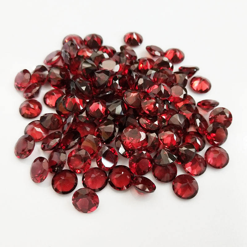 Natural Gems Loose Gemstone AAA+ Red Mozambique Garnet using for DIY Jewelry Making and Blank ring for inlay Round Brilliant Cut