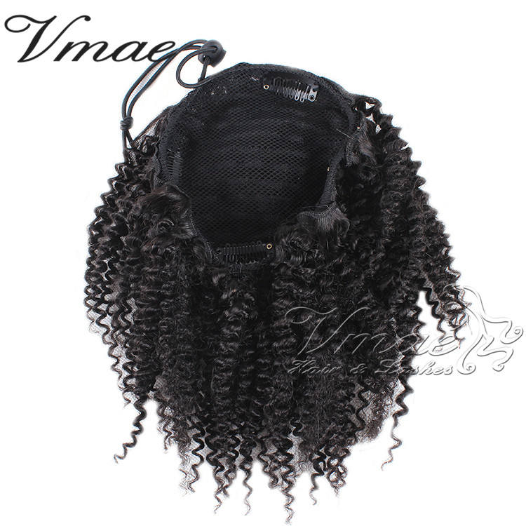 VMAE Wholesale Price Virgin Natural Indian Afro Kinky Curly Hair 3A 3B 3C 4A 4B 4C Drawstring Ponytail 100% Human Hair Extension