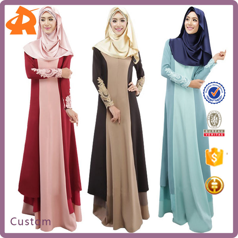 Custom fashion Design Muslim Women Kaftan Abaya Islamic Dress O-Neck Long Sleeve Chiffon Floor Length Dress