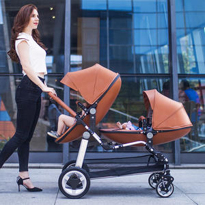 High quality PU leather egg seat twin baby stroller double eggshell folding stroller light luxury stroller high semaco landscape