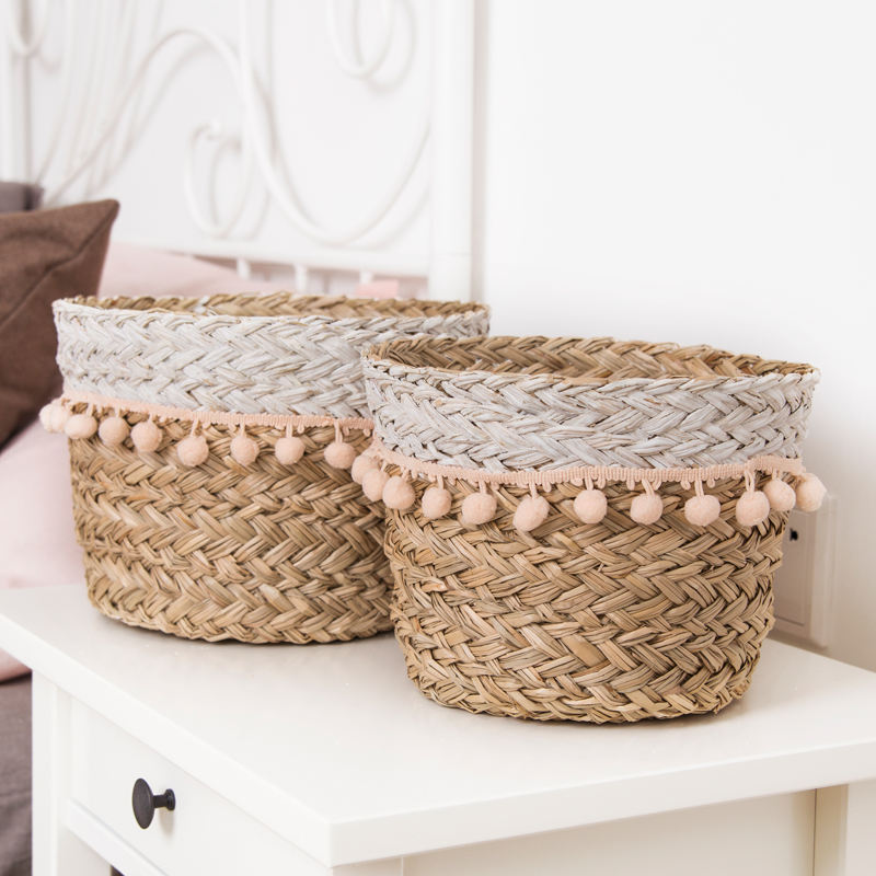 Handmade housekeeping decorative linen children toy gift laundry bin natural straw round basket bag storage made of seagrass