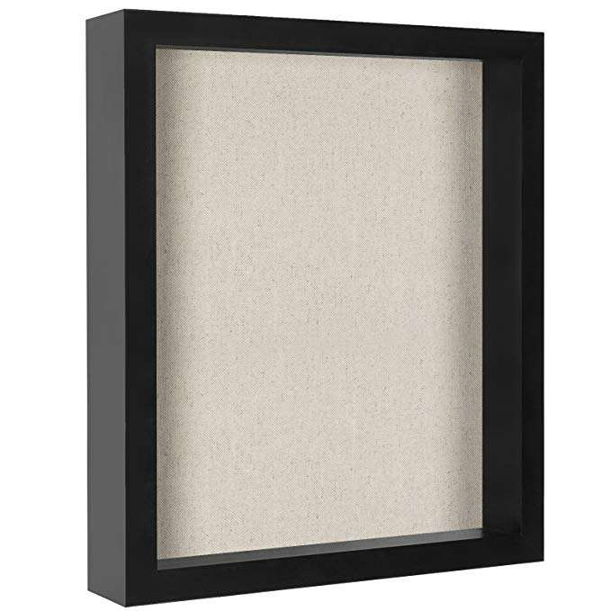 11*14 custom wholesale linen display case black white wood 3D wall art Collections Awards and Tickets shadow box Frame