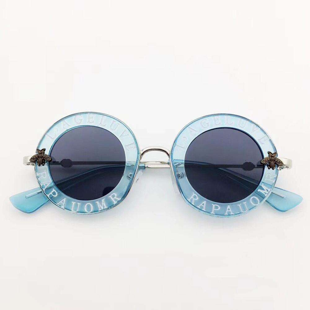 2019 Amazon Hot Sale Children Sunglasses Round Retro Alphabet Bee Sunglasses