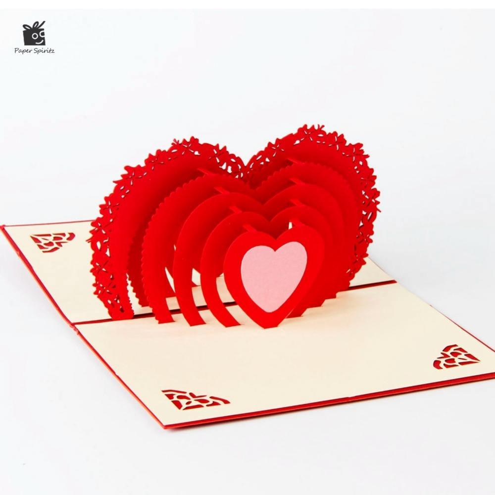3D cuore di Amore pop up biglietti di auguri carte laser cut buste cartoline all'ingrosso regalo di san Valentino