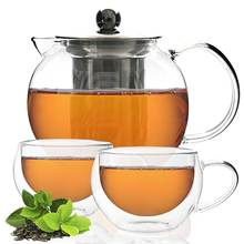 Glass Tea Set  Glass Teapot Tea Infuser and 2 Double-Wall Insulated Glass Cups