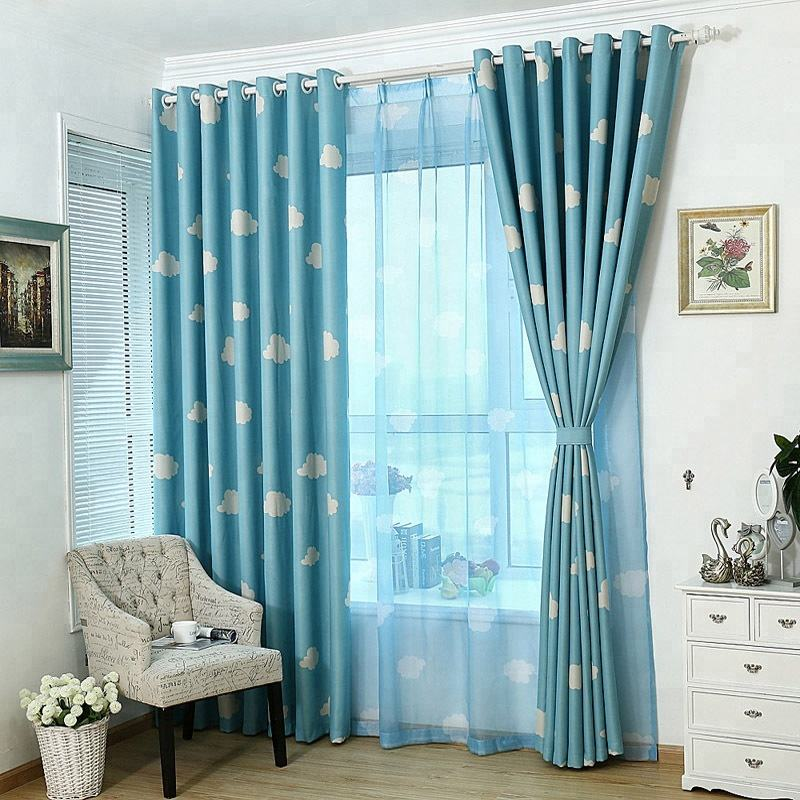 Cottage Korean Style Sky Blue Window Cortinas Rideaux Window Blackout Curtain Panel Drapes For Kids Bedroom Wholesale