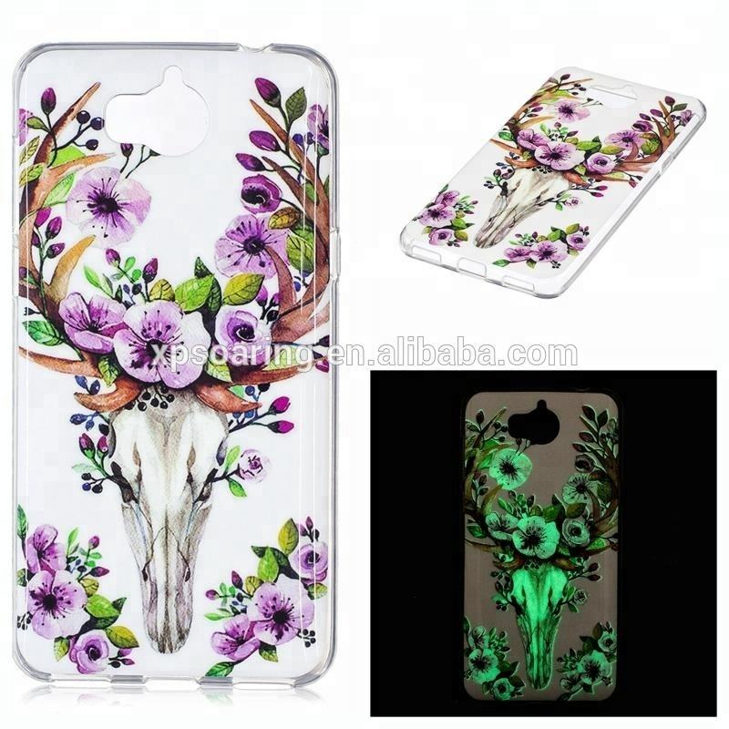 Luminous tpu case butterfly cover for Huawei Y5 2017, skull IMD case for Huawei Y5 2017