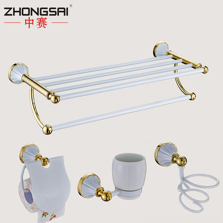 Royal Brass Wall Mounted Bathroom accessories towel holder shelf with coat hook