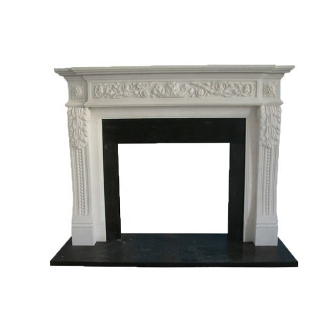High Quality Decorative Hand Carved Black Marble Stone Fireplace Ornate
