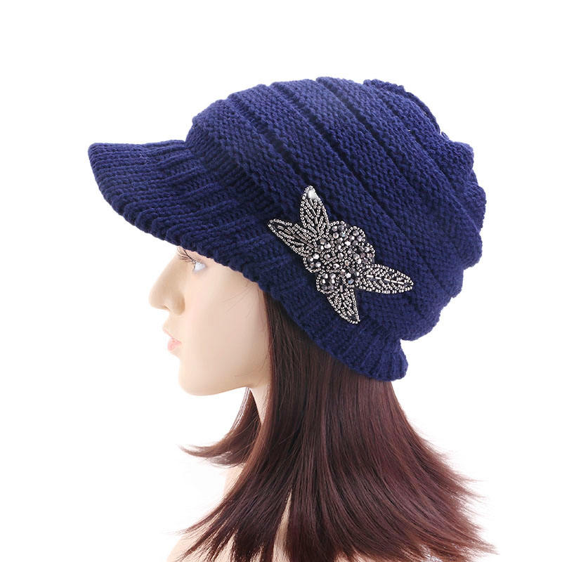 Women Jeweled Visor Brim Chunky Winter Skull Cap Knit Beanie Hat With Beaded Flower
