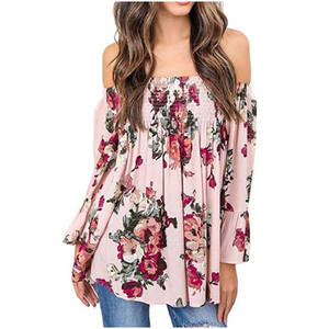 2019 Casual Clothing Off-shoulder Elastic Women Tops Floral Print Folk Flare Sleeves Wholesale Pleated Clothe