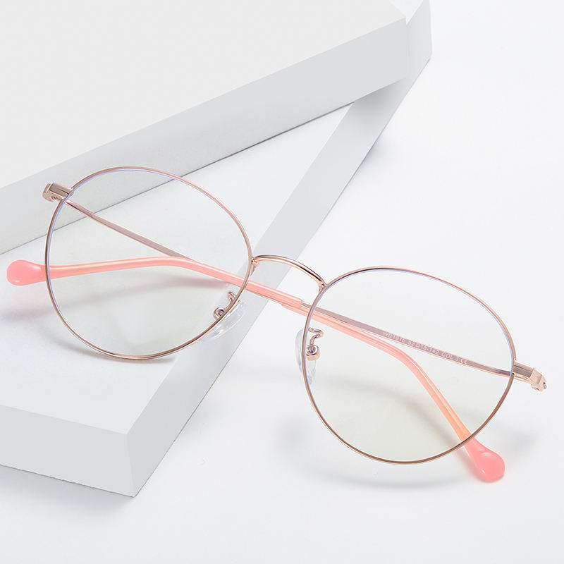 Two Tone Retro Frame Teenage Computer Eyewear Glasses With Anti Radiation Lens