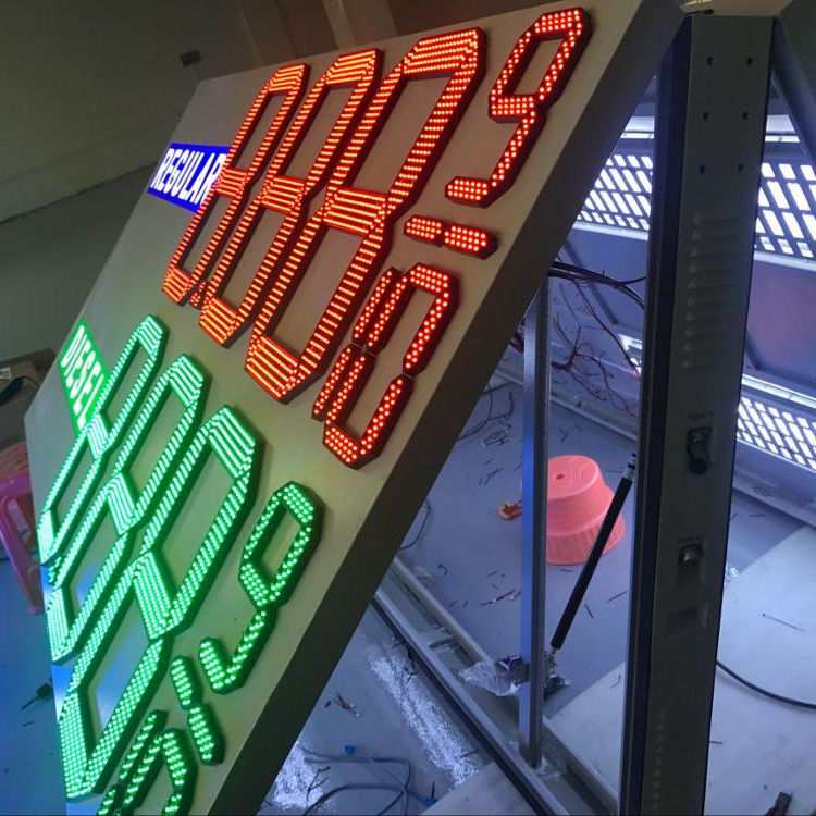 Customized size Acrylic Canopy Fascia gas station prices led display board