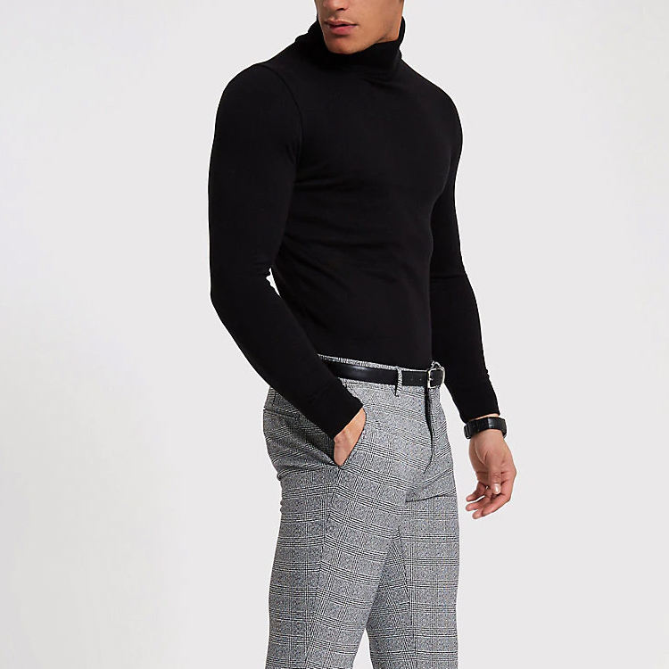Black Color Fit Men Cotton Knit Roll Neck Sweater Man