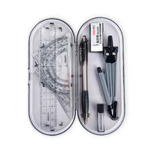 Student Drawing Math Geometry Kit 8 Pieces Set With Compasses,Eraser,Lead Tube,Mechanical Pencil And Ruler Stationary Set