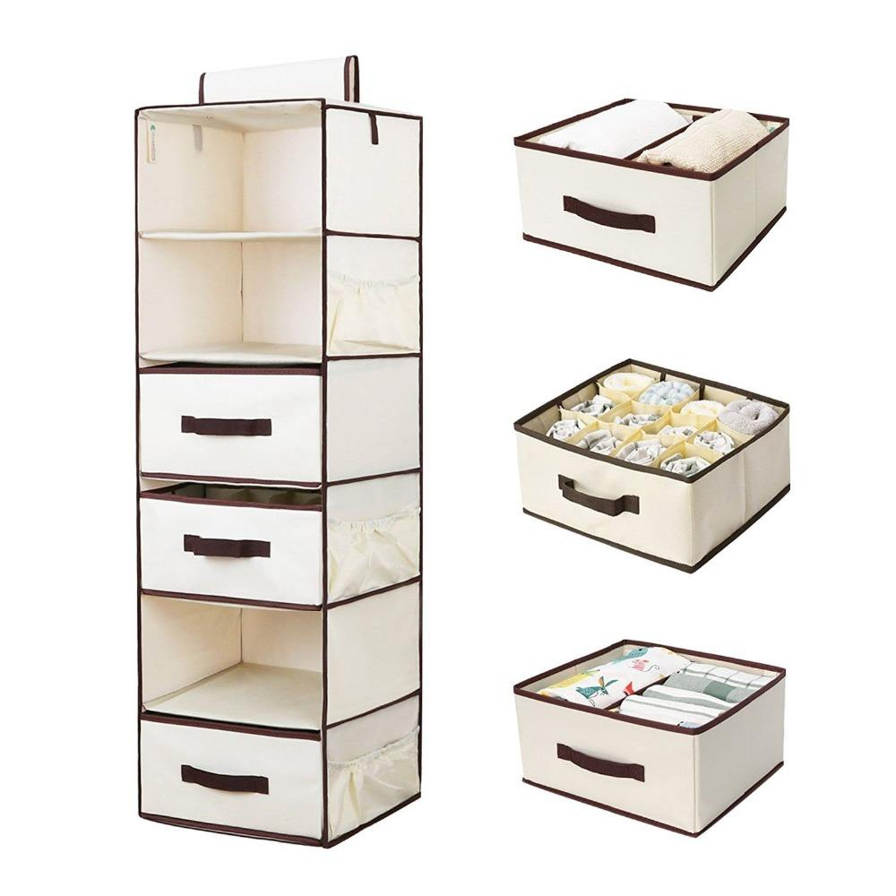 6-shelf non woven Space Saving Easy Use Drawers Collapsible Shelves Hanging Closet Organizer for Sweater Cloth handbag