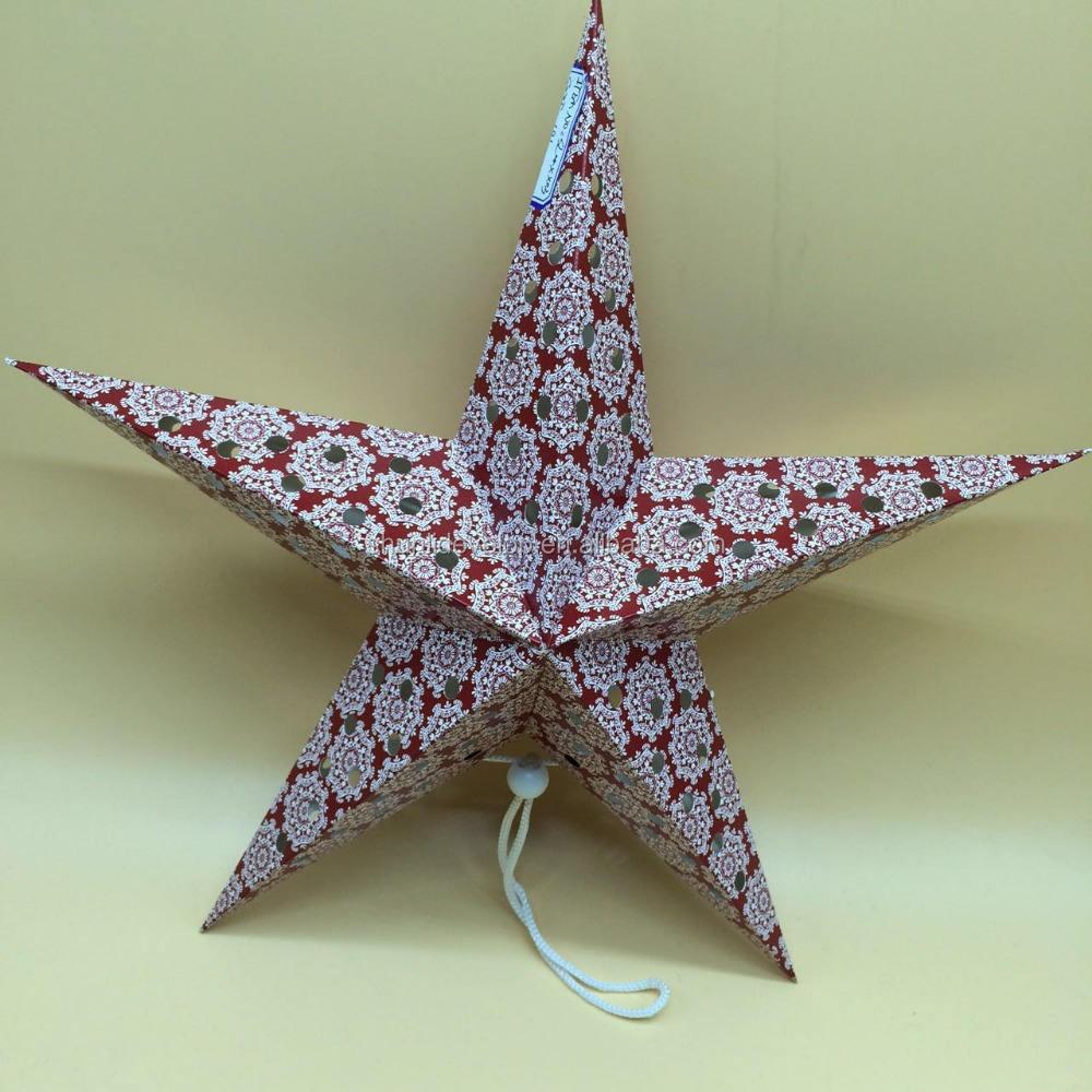 indien d/écoratifs lumi/ères de No/ël /à suspendre Lanterne Festive pliable Rouge /étoile en papier lampe