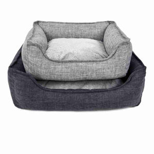 Wholesale New Style Checkered Rectangle Linen Pet Beds Soft Cheap Dog Bed