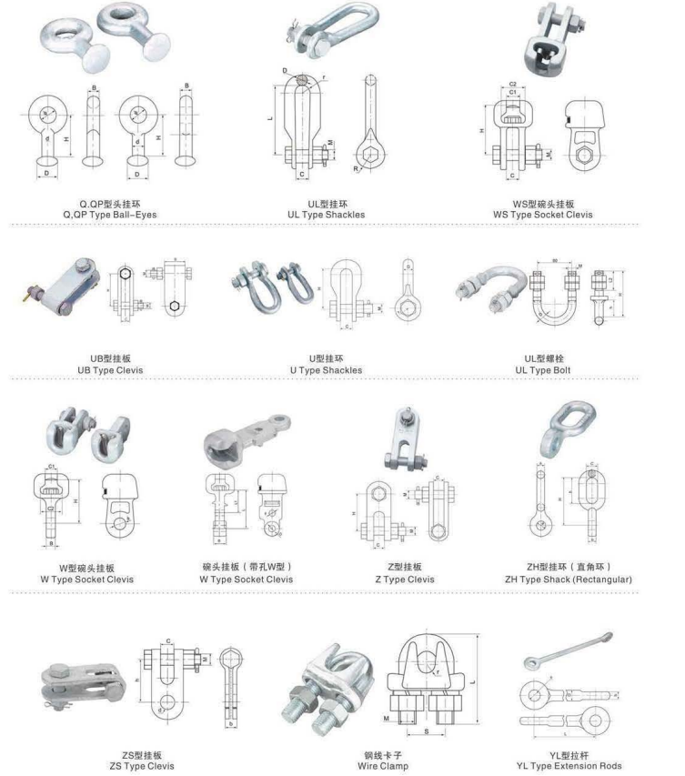 ball eyes shackle clevis suspension clamp strainer