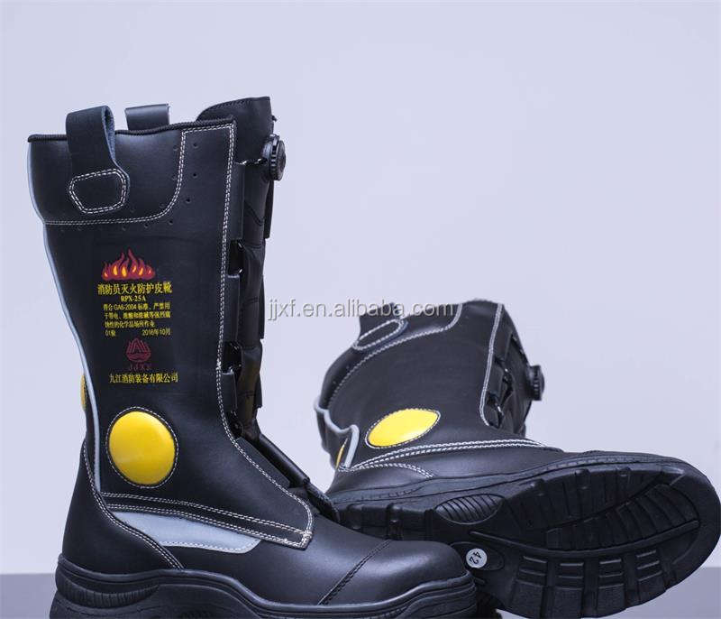 Leather fire fighter boots with steel head