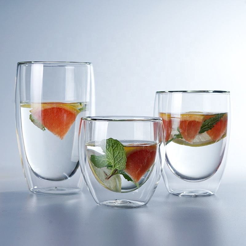 fancy design handmade double wall whiskey shot glass
