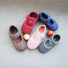 E59-01 Princess Corduroy Up Girls Dress Casual Shoes Soft Rubber Sole Lovely Outdoor Children Sports Footwear
