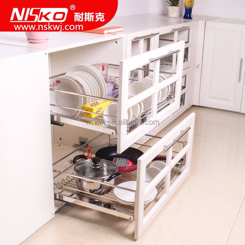 High Quality Kitchen Storage Sliding Pull Out Wire Basket Cabinet Inside Storage Unit Basket