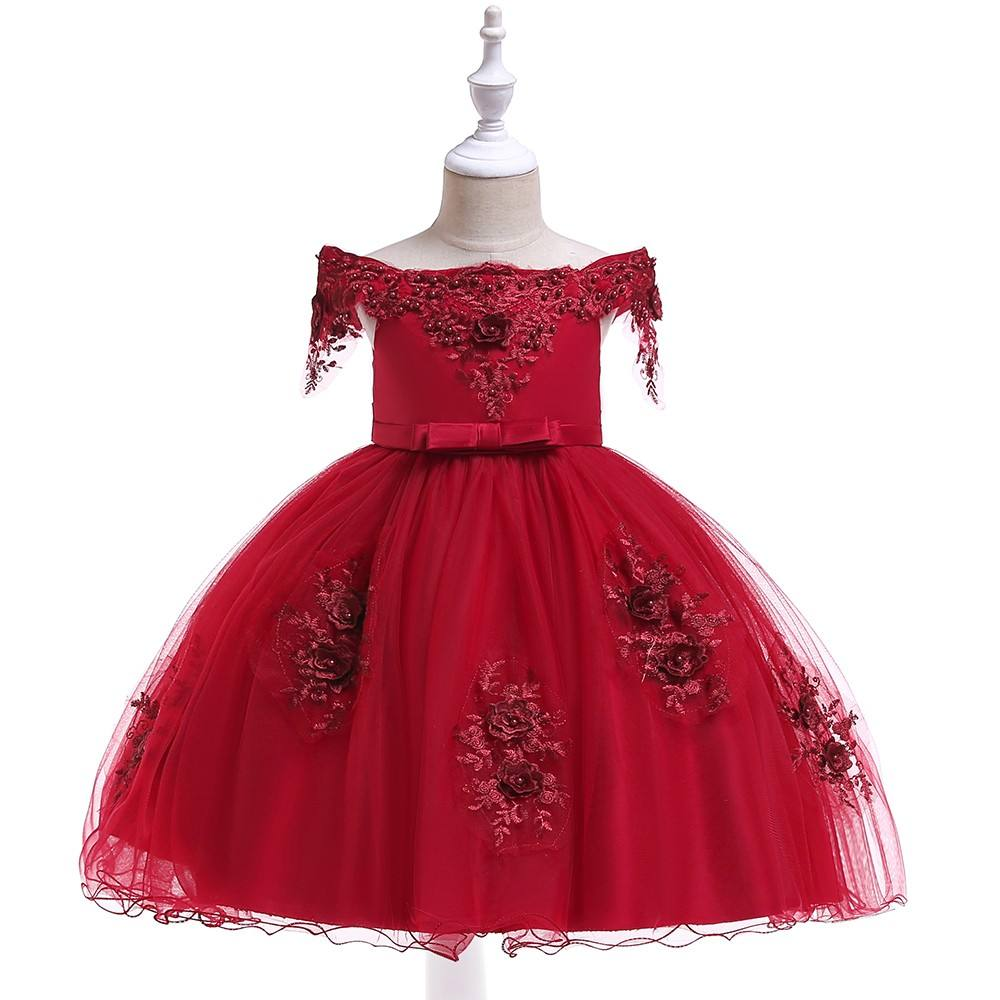 3-8 years old baby girl wedding party dress2020 children net frock design for kids L5057