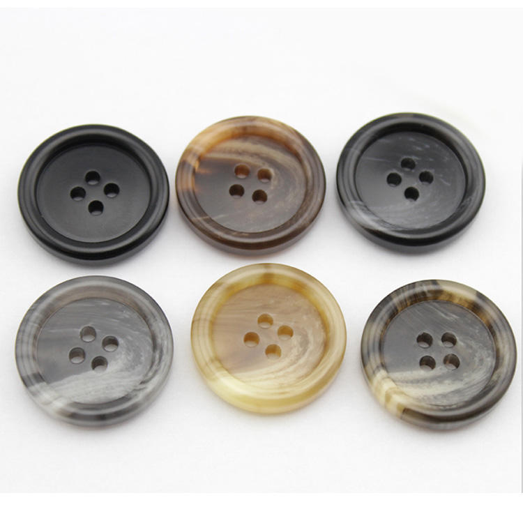 good quality 4 hole round matte sewing imitated horn polyester mens suit buttons