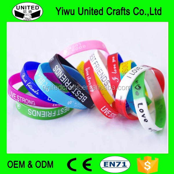 Promotional sport silicon braclet colorfilled silicone bracelet with deboss emboss logo