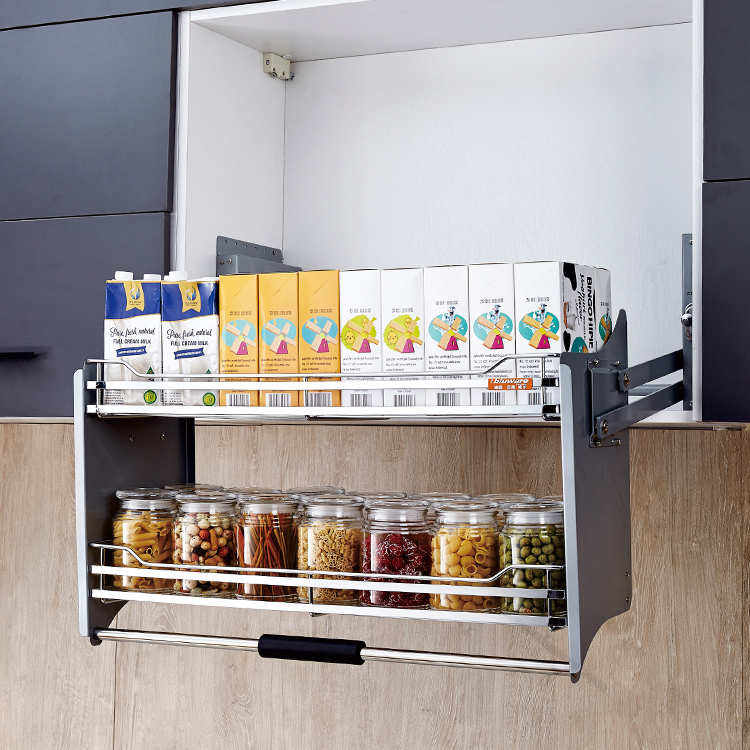 SUS304 Stainless steel lift basket Vitnam hardware Kitchen accessories up and down automatic storage basket