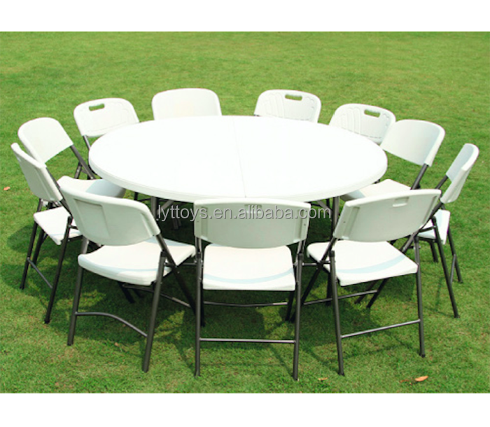 10 people outdoor banquet table plastic round folding table chair table for wedding party