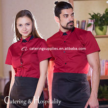 Modern short sleeve summer hotel restaurant waiter work clothes uniforms