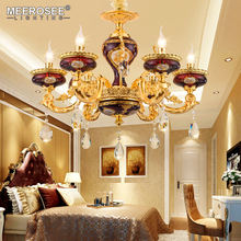 MEEROSEE Luxury Crystal Chandelier Light Luminaire Hanging Lamp Fixture for Villa Restaurant Lighting SU85347