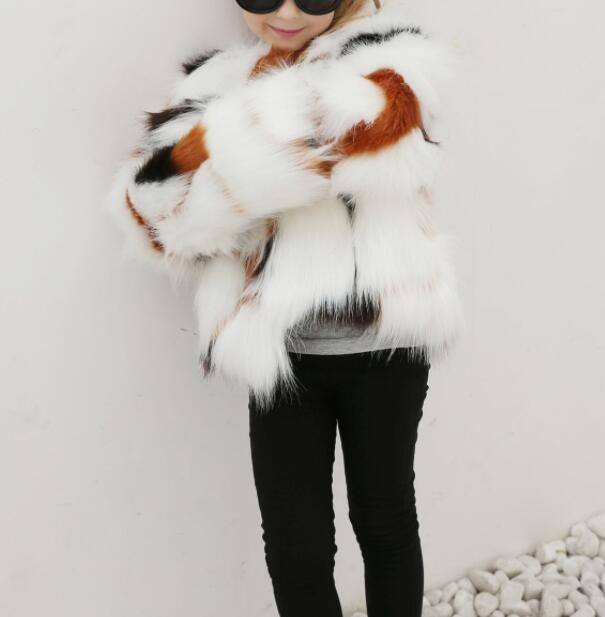 2020 Newest Stylish High Quality White Girl Jacket Winter Children Faux Fur Coat