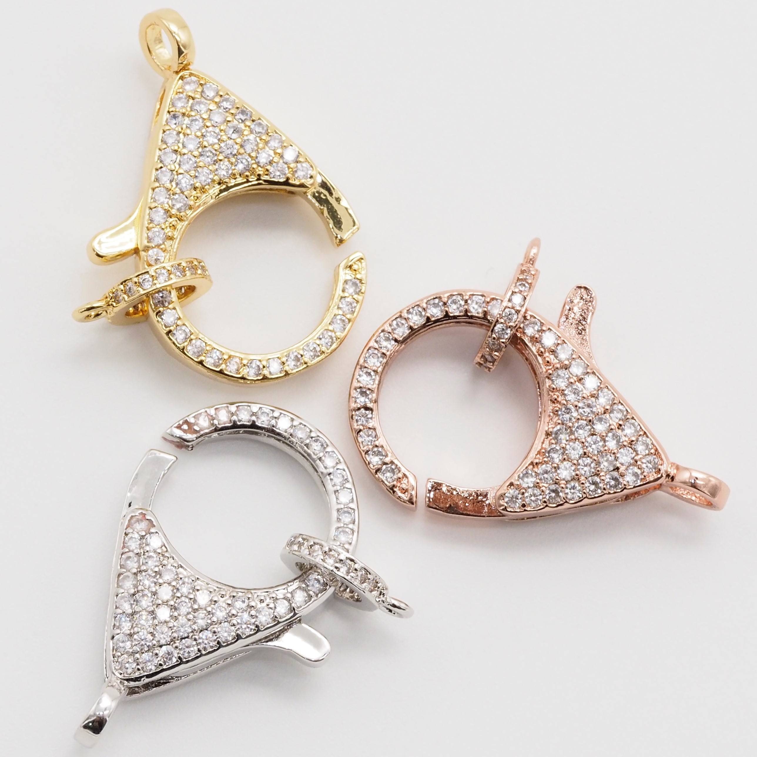 Hot sale wholesale newest style gold plated pave diamond lobster clasp