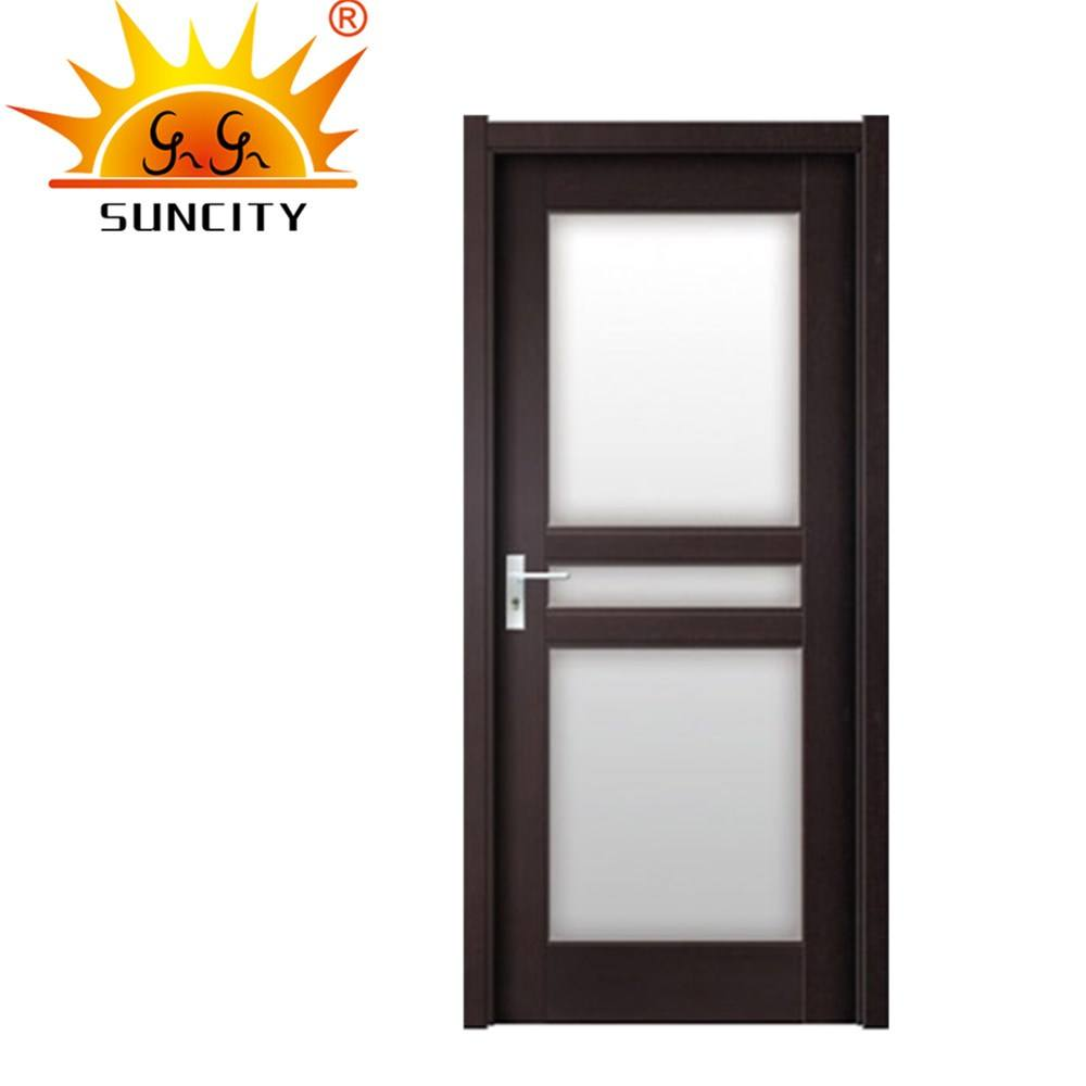 SC-P185 Laminate MDF Interior Frosted Glass PVC Coat Wood Room Door Pictures