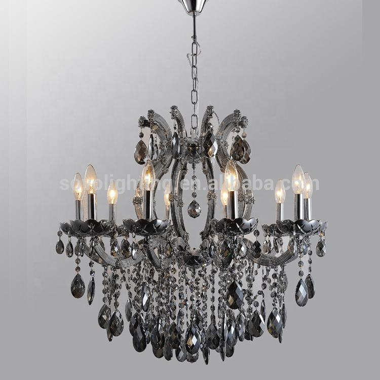 smoke grey Crystal Chandelier Lighting Glass Arm MARIA THRERSA Chandelier Lighting Modern Crystal Chandelier