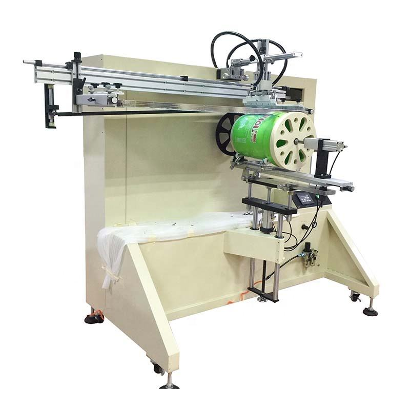 S1200R semi-auto cylindrical bucket screen printing machine
