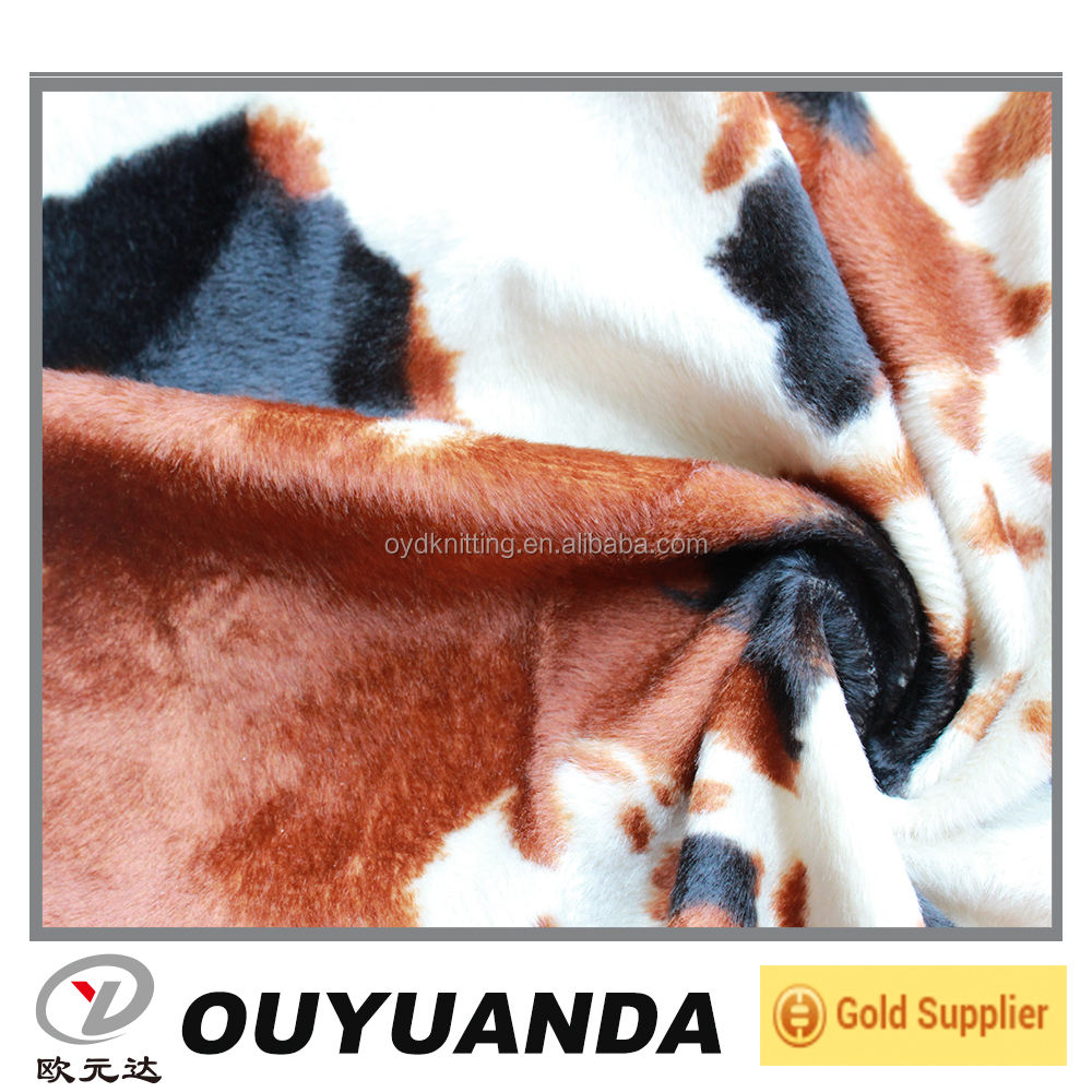 Polyester Cow Patter Velour Warp Knit Fabric for Sofa Chair Cushion Cover
