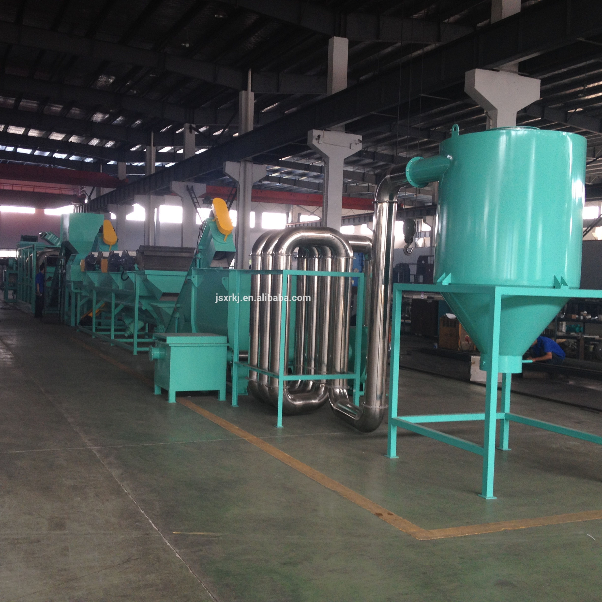 pp recycle material for bag pe film washing crushing line with hot washer