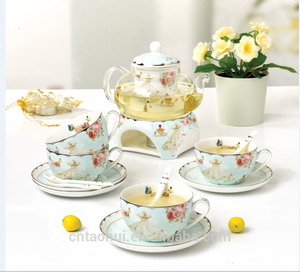 good selling fashion sweet tea set with flower design teapot with warmer