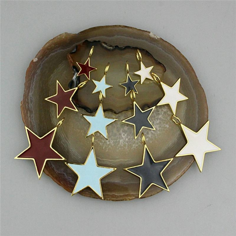 CH-GMP0093 Star shaped enamel pendant,fashion bezel plated gold jewelry,DIY bracelet necklace making accessories wholesale