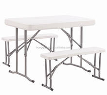 2018 Wholesale Cheap Folding White Plastic Outdoor Beer Table And bench set