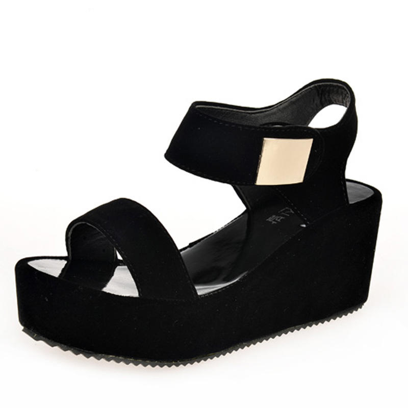 cz18088a New casual ladies platform pu lightweight black wedge heel sandals shoes women